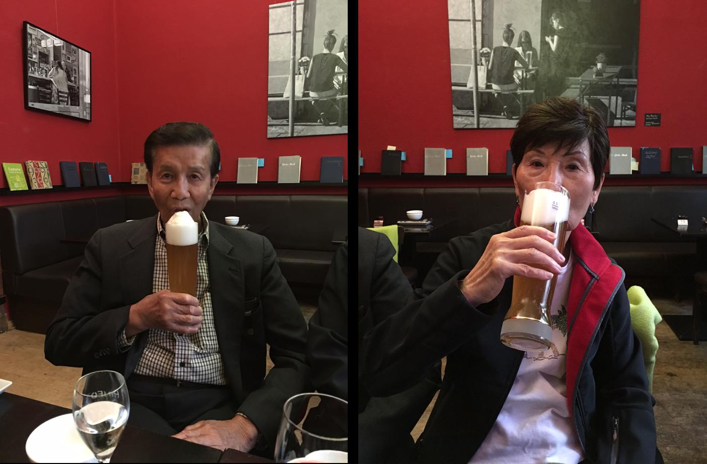 Mom and Dad enjoying german beer
