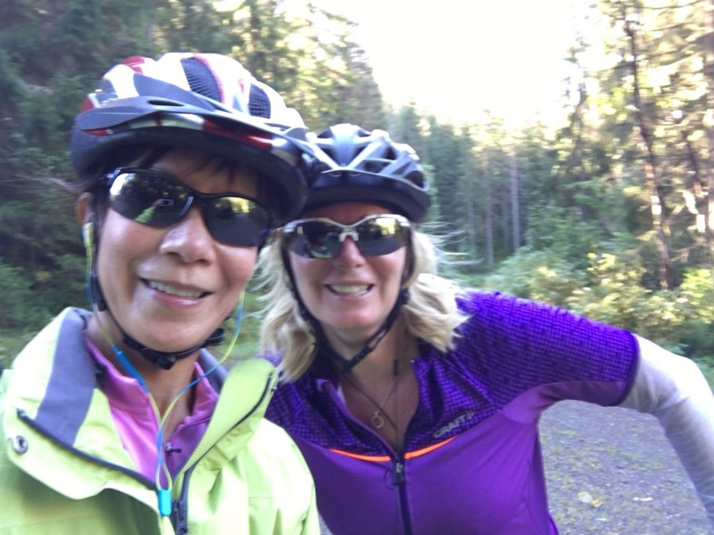 Tracey and Jennifer riding selfie