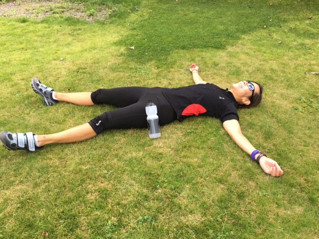 tired after 21K bike ride
